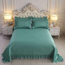 舒一 2020新款水洗真丝凉席床盖三件套 孔雀绿