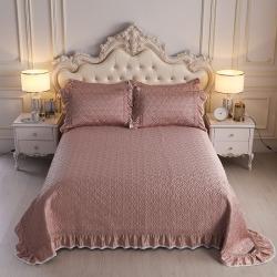 舒一 2020新款水洗真丝凉席床盖三件套 玫瑰金色
