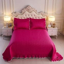 舒一 2020新款水洗真丝凉席床盖三件套 玫红