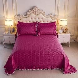 舒一 2020新款水洗真丝凉席床盖三件套 深红色