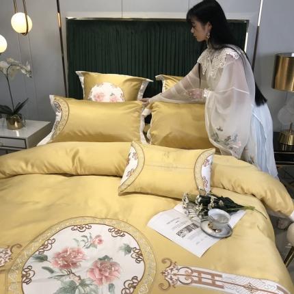 玉皇阁 2020新款AB版水洗真丝纯棉四件套中国结 黄
