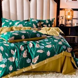 慕梵2020新品天絲綢四件套水洗天絲真絲冰絲歐式套件 葉魅