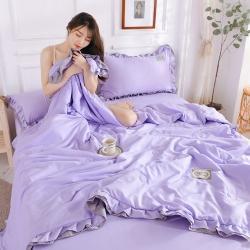 眠博士 2020新款水洗棉夏被四件套 丁香紫