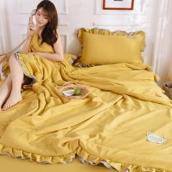 眠博士 2020新款水洗棉夏被四件套 姜黃色