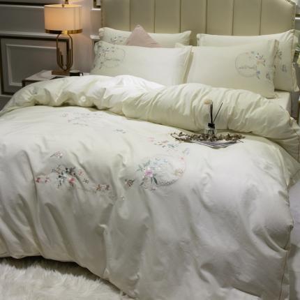 英镑家纺 2020新款全棉纯棉刺绣四件套床单款床笠款 蓝调庄园-白色