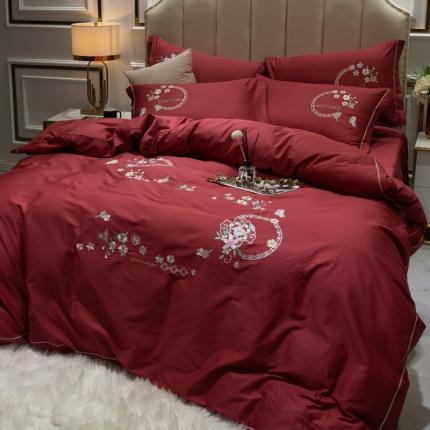 英镑家纺 2020新款全棉纯棉刺绣四件套床单款床笠款 蓝调庄园-酒红