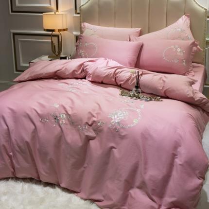 英镑家纺 2020新款全棉纯棉刺绣四件套床单款床笠款 蓝调庄园-浅豆沙