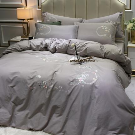 英镑家纺 2020新款全棉纯棉刺绣四件套床单款床笠款 蓝调庄园-浅灰