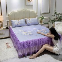(总)魅图家纺 2020新款冰丝席床裙三件套