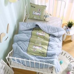 憶家抱枕被 磨毛3D水洗棉絎縫包邊抱枕被 小饞貓-咖