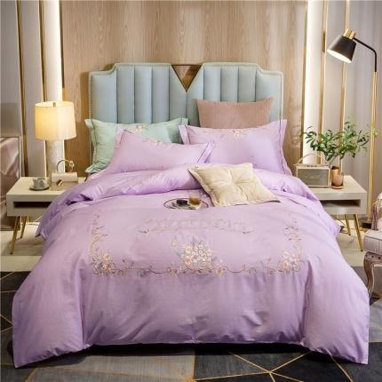 帅露 2020新款轻奢大版全棉印加绣四件套 伊丽莎-紫
