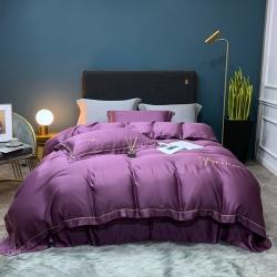顧家家居 2020新款80奧地利蘭精天絲刺繡四件套 紫棠