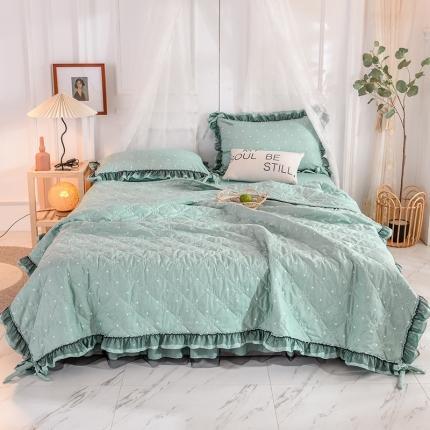 芭比蔓家纺 2021新款床裙款夏被四件套 青花绿