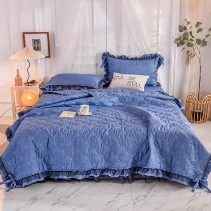 芭比蔓家纺 2021新款床裙款夏被四件套 深蓝