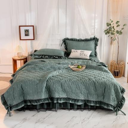 芭比蔓家纺 2021新款床裙款夏被四件套 墨绿