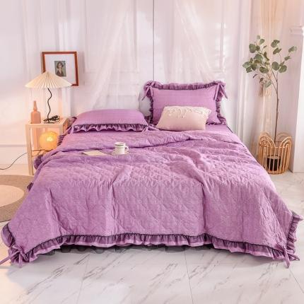 芭比蔓家纺 2021新款床裙款夏被四件套 优雅紫