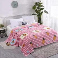 九州星 2020新款260克加厚包邊款毛毯網銷贈品毛毯 菠蘿粉