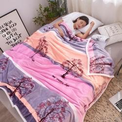 九州星 2020新款260克加厚包邊款毛毯網銷贈品毛毯 發財樹