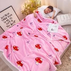 九州星 2020新款260克加厚包邊款毛毯網銷贈品毛毯 蘑菇朵朵