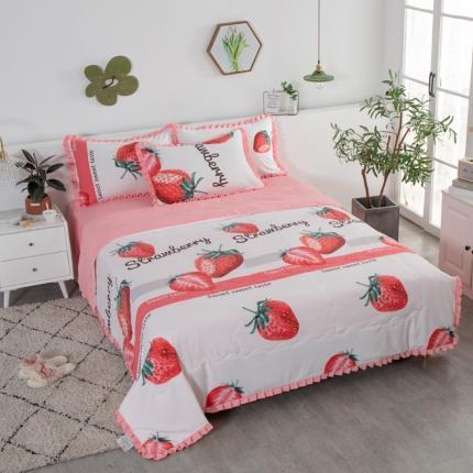 红粉佳人 2020新款韩版洛卡棉水洗棉夏被 慕斯草莓