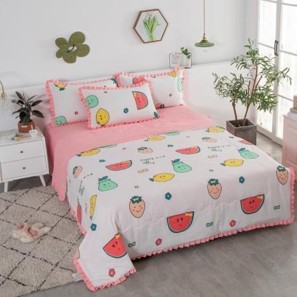 红粉佳人 2020新款韩版洛卡棉水洗棉夏被 水果乐园