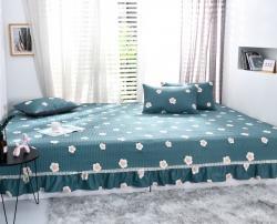 欧式双人纯棉床盖三件套夹棉绗缝全棉床单单件炕单炕罩加大可订制