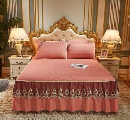 乐朵 2020新品 贝加尔 乳胶凉席床裙款三件套(可脱卸 ) 珊瑚橘