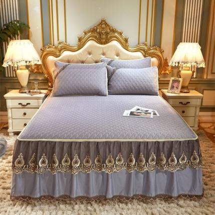 乐朵 2020新品 贝加尔 乳胶凉席床裙款三件套(可脱卸 ) 灰色