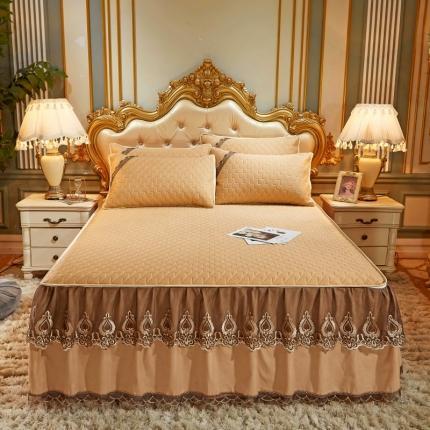乐朵 2020新品 贝加尔 乳胶凉席床裙款三件套(可脱卸 ) 金驼