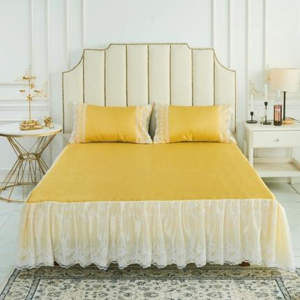 (总)柒月家居 2020新款纯色冰丝席床裙款