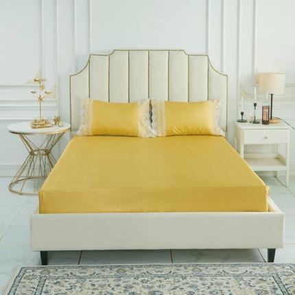 柒月家居 2020新款纯色冰丝席床笠款 亮黄