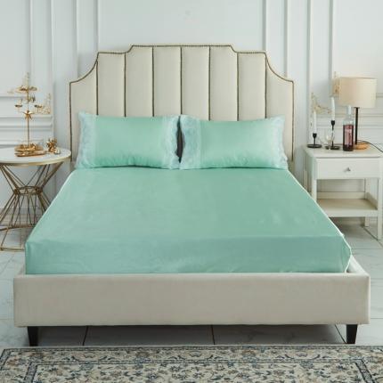 柒月家居 2020新款纯色冰丝席床笠款 水绿