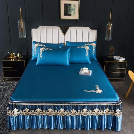 好眠好梦 2020新款纯色拆卸冰丝凉席三件套 艾玛仕-宝石蓝