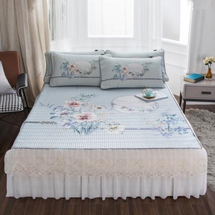 好眠好梦2020新款床裙款冰丝乳胶凉席三件套 世外桃源