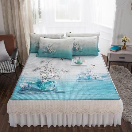 好眠好梦2020新款床裙款冰丝乳胶凉席三件套 水玲珑-浅蓝