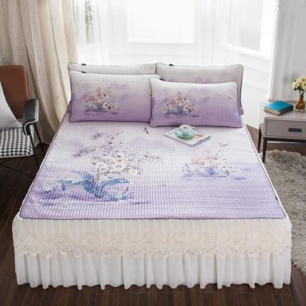 好眠好梦2020新款床裙款冰丝乳胶凉席三件套 水玲珑-浅紫