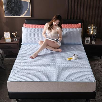 纯色泰国乳胶凉席三件套可水洗可折叠冰丝空调软凉席 海洋蓝