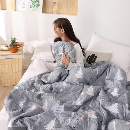 新款水洗棉夏凉被空调被可水洗可折叠印花床上用品 木言