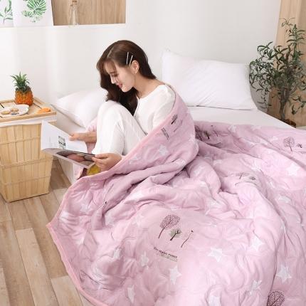 新款水洗棉夏凉被空调被可水洗可折叠印花床上用品 五角枫