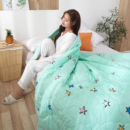 新款水洗棉夏凉被空调被可水洗可折叠印花床上用品幸运星