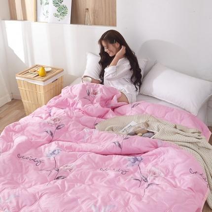 新款水洗棉夏凉被空调被可水洗可折叠印花床上用品 紫荆花开粉