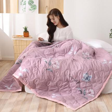 新款水洗棉夏凉被空调被可水洗可折叠印花床上用品紫荆花开-淡雅