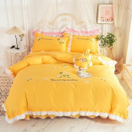 迪欧芙2020绣花床裙款韩版四件套全棉四件套 甜美时光 黄色