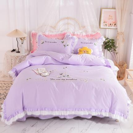 迪欧芙2020绣花床裙款韩版四件套全棉四件套 甜美时光 紫色