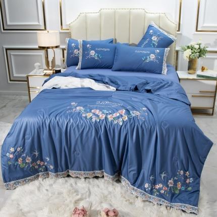 英镑家纺 2020新款真丝刺绣全棉夏被四件套 加州花园-宝蓝