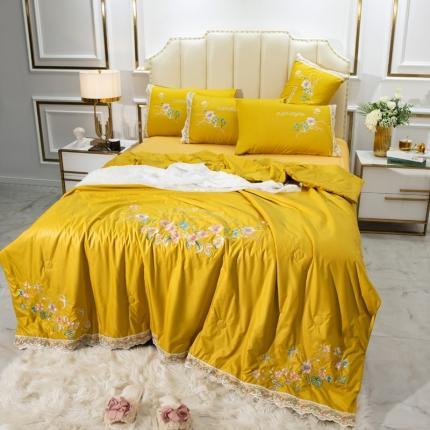 英镑家纺 2020新款真丝刺绣全棉夏被四件套 加州花园-柠檬黄