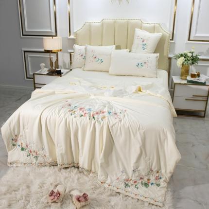 英镑家纺 2020新款真丝刺绣全棉夏被四件套 加州花园-牛奶白