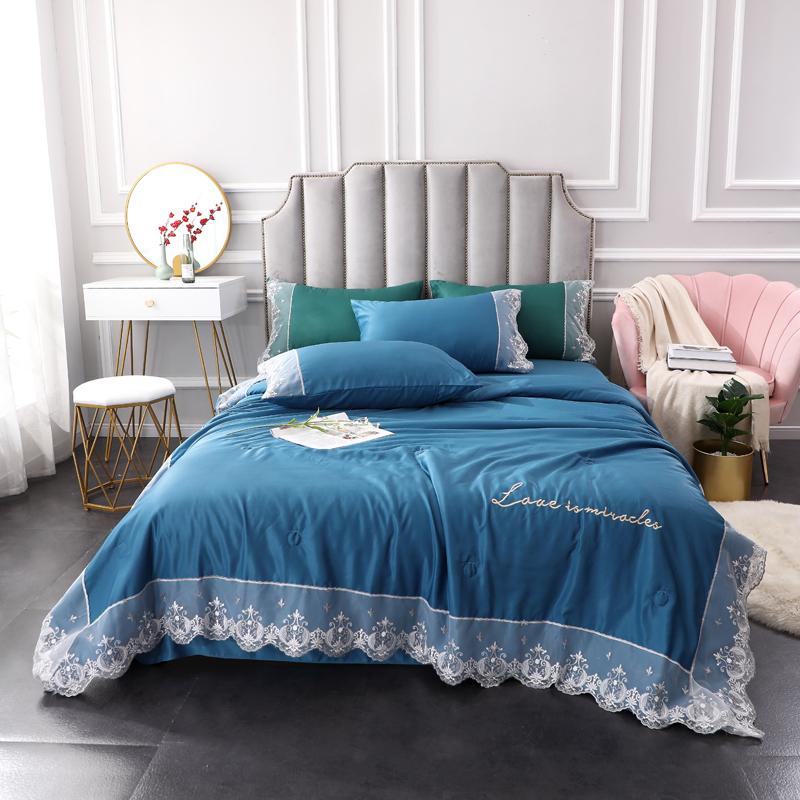 八零年代 2020新款蕾丝奢华系列夏被四件套 宝蓝