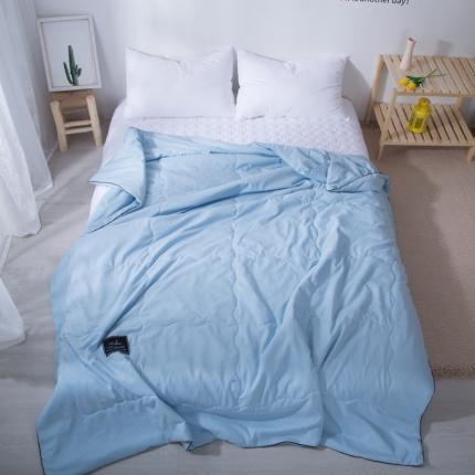澳玛尼 2020新款水洗棉纯色夏被 天蓝