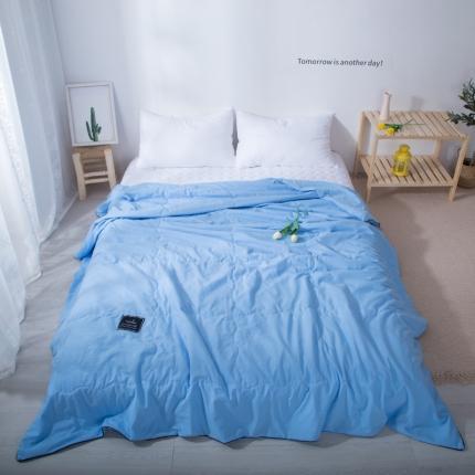 澳玛尼 2020新款水洗棉纯色夏被 中蓝